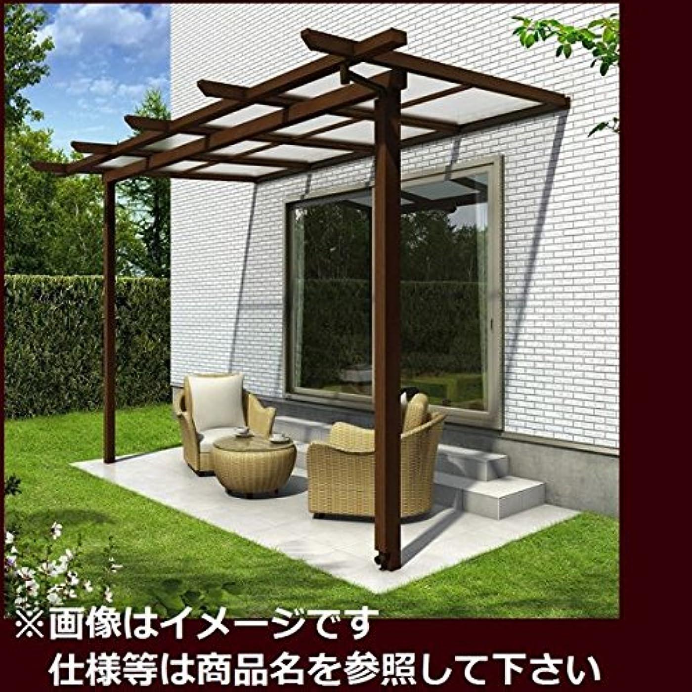 高度ニュージーランドジョブYKK ap サザンテラス パーゴラタイプ 関東間 1500N/m2 3.5間×3尺 (2連結) ポリカ屋根 キャラメルチーク/スモークブラウン