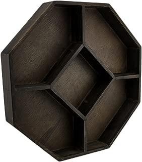 Zeckos Dark Brown Wooden Geometric Hexagon Crystal Display Shelf