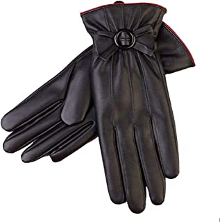 Ladies Leather Gloves Womens Touch Screen Mittens Soft Warm Velvety Lining Winter Gloves with One Bow Decoration (Black)