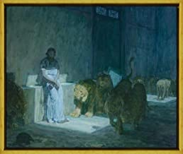 Berkin Arts Framed Henry Ossawa Tanner Giclee Canvas Print Paintings Poster Reproduction(Daniel in The Lions' Den) #XLK