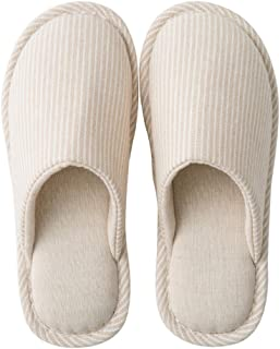 Fendou Comfortable Slippers Summer Linen Washable Breathable Cotton Open Toe House Slippers for Women