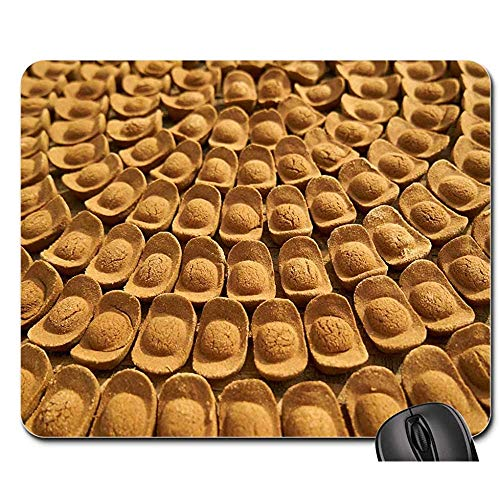 Vernähte Kanten Mouse Pad - Mausunterlage - Plätzchen-Bäckerei-Brown-Gelb-Bonbon Köstlich