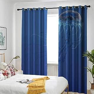 one1love Jellyfish Custom Curtain Blue Spotted Jelly Fish Aquarium Life Marine Animals Ocean Predator in Deep Water Aquatic Curtains for Living Room 84