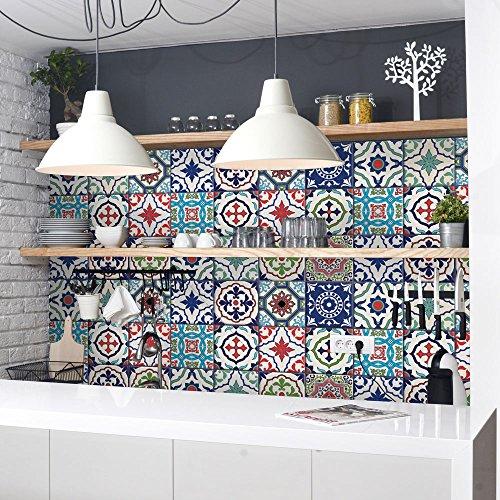 54 (Piezas) Adhesivo para Azulejos 10x10 cm - PS00036 - Lisboa - Adhesivo Decorativo para Azulejos para baño y Cocina - Stickers Azulejos - Collage de Azulejos