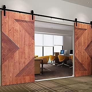 12ft Sliding Wood Barn Door Hardware Kit,Hardware for Barn Doors Antique Style,Slide Smoothly Quietly,Factory Outlet Upgraded Version Quality Carbon Steel-(J Shape Hanger,Double Door;Black)