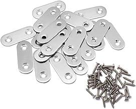 20 Stks Vlakke Hoek Brace Platen Metalen verbindingsplaten Connector Reparatie Platen Beugel met Bevestigingsschroeven Roe...