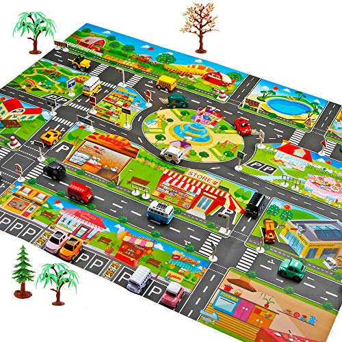 Kids Carpet Playmat Rug City Road Parking Map Great for Playing with Cars and Toys - Play, Learn and Have Fun - Kids Baby, Children Educational Traffic Play Mat, for Bedroom Play Room [USA Stock]