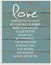 Stupell Industries Love Grows Best in Little Houses Distressed Teal Shiplap Wall Plaque Art, 10 x 0.5 x 15, Proudly Made i...