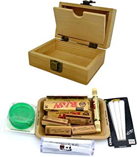 Shine GRASSLEAF Wooden Rolling Box with RAW Tray Gift Set- Includes Papers/Tips/Grinder/Rolling Machine/MAT (Large Box/Small Tray) (Small Box/Small Tray)