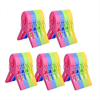 KSPOWWIN 20 Pack Beach Towel Clips Chair Clips Towel Holder for Beach Chair Pool Chairs on Cruise-Jumbo Size, Plastic Chair Towel Clips Clamp Holder-Keep Your Towel from Blowing Away, Clothes Lines