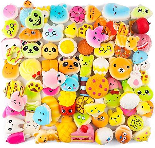 BeYumi Random 50 Stück Buntes Squeeze Toys, Medium Mini Kawaii Soft Cream Duftend langsam ansteigendes Futter und Tiere für Kinder Spielzeug Weihnachtstaschenfüller Panata