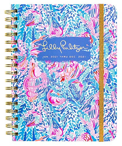 Lilly Pulitzer Large 2021 Planner Weekly & Monthly, Dated Jan 2020 - Dec 2021, 12 Month Hardcover Agenda with Notes/Address Pages, Colorful Stickers, Pocket, Laminated Dividers, Treasure Trove