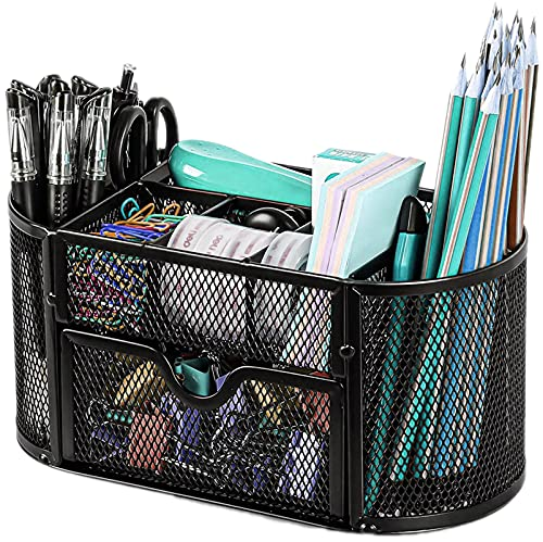 Mesh Desk Organizer, Refand Desktop Office Supplies Multi-Functional Caddy Pen Holder Stationery with 8 Compartments and 1 Drawer for Office, Home, School, Classroom