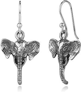 925 Oxidized Sterling Silver 3-D Vintage Elephant Head Dangle Hook Earrings 1.3 Inches