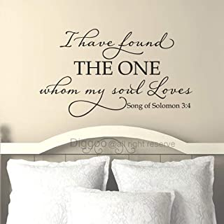 Diggoo I Have Found The One Whom My Soul Loves Bible Quote Song of Solomon 3 4 Religious Wall Decor Wedding Gift for Bedroom (Black,29