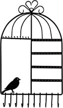 WELL-STRONG Earring Necklace Holder Birdcage Wall Mount Jewelry Organizer Hanger for Girls Black