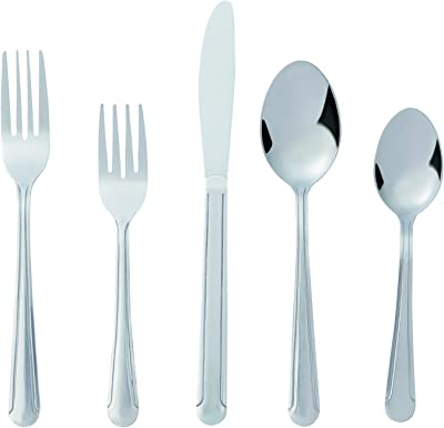 Bon Camisole 20-Piece Stainless Steel Flatware Silverware Cutlery Set, Include Knife/Fork/Spoon, Dishwasher Safe, Service for 4