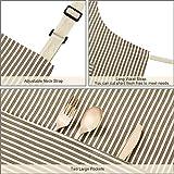 HB life 2Pack Schürze Kochschürze Sterne Schürze 82x71.5cm Baumwolle Leinen Verstellbare Küchenschürze Weiche Kochschürze mit Tasche für Damen und Männer (Gitter/Vertikalstreifen) - 5