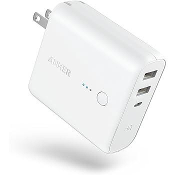 Anker PowerCore Fusion 5000 (モバイルバッテリー 搭載 USB充電器 5000mAh) 【PSE認証済/コンセント 一体型/PowerIQ搭載/折りたたみ式プラグ】 iPhone iPad Android各種対応 (ホワイト)