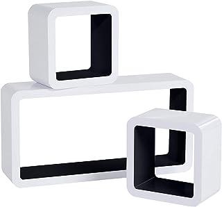 WOLTU Estantería de Pared Estantería Cubo Conjunto de 3 Estante Retro Colgantes CD Libreria Decorativo Baldas Flotante Pared Negro/Blanco RG9229sz