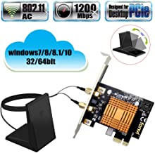 Fenvi Dual Band Wireless-AC PCI Wifi Desktop BT 4.2 PCI Express PCIe Card 1200Mbps 802.11a/b/g/n/ac 2.4Ghz 5Ghz 2x2, MU-MIMO AC1200 Wireless Adapter with Magnetic Antenna With Advanced Heat Sink BT4.2