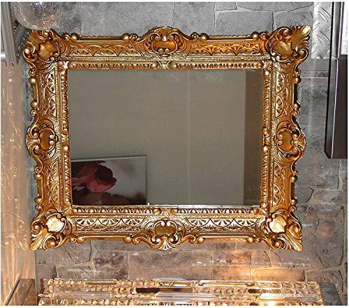 Lnxp Specchio da parete con cornice barocca, in oro, 56 x 46 cm, stile barocco anticato, stile barocco