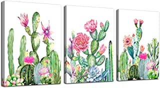 Canvas Wall Art for living room bathroom Wall Decor for bedroom kitchen artwork Canvas Prints green cactus flowers painting 12