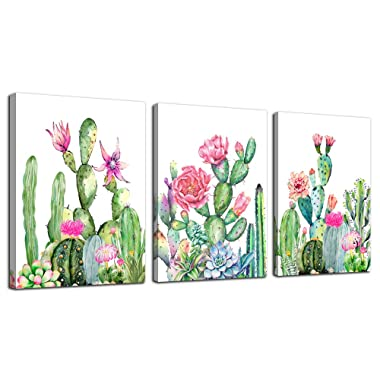 Pink and Yellow Floral Flower Hand Towels for Bathroom 27.5 X 15.7 Soft Microfiber Towel Watercolor Green Cactus Small Bath Towels Kitchen Dish Towel