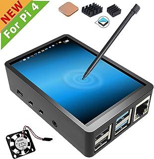 para Raspberry Pi 4 visualización táctil con funda, visualización táctil de 3,5 pulgadas con ventilador, monitor de 320 x 480 TFT LCD de juegos