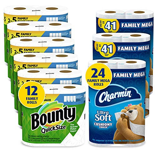 Charmin Ultra Soft Cushiony Touch Toilet Paper, 24 Family Mega Rolls and Bounty Quick-Size Paper Towels,12 Family Rolls, Bundle (Packaging May Vary)