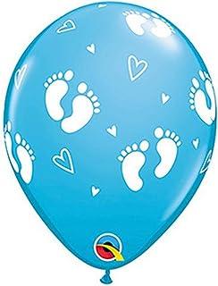 "Qualatex 43419-Q BABY FOOTPRINTS & HEARTS-ROBIN'S EGG BLUE, 11"""