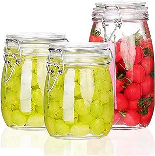 csd Bouteilles en verre scellées 3PCS Jar de stockage de confiture alimentaire avec boucle Transparent Café Grains de café...