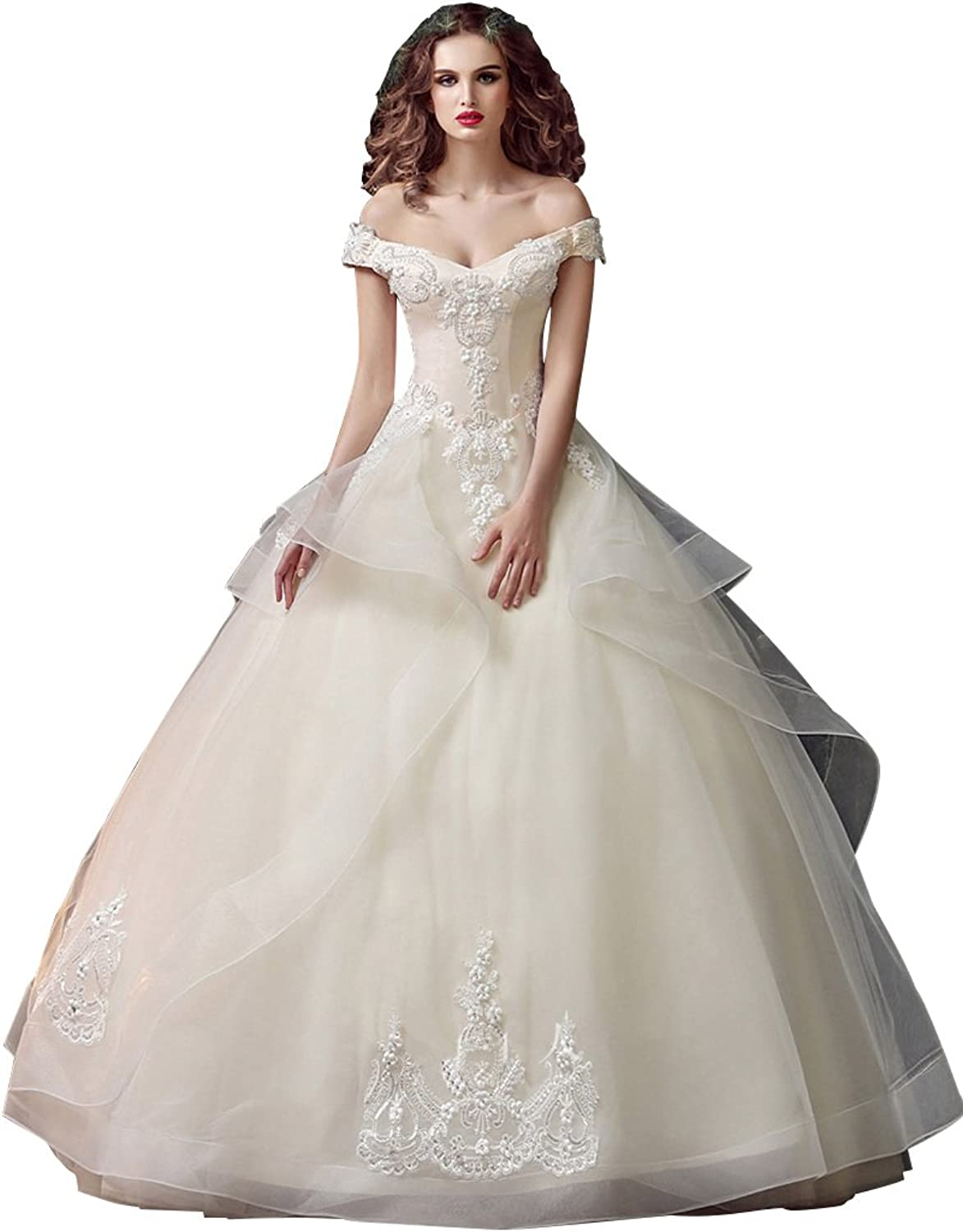 BeautyEmily Lace Organza Off The Shoulder Ball Wedding Dress
