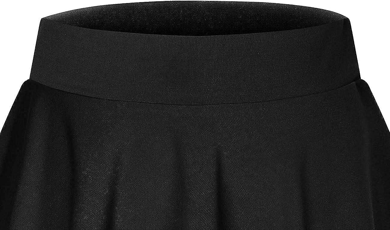 DRESSTELLS Skirt for Women Mini Skirts Versatile A-line Basic Stretchy Flared Skater Skirt