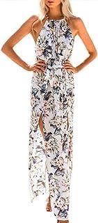 NANYUA Women's Sleeveless Halter Neck Sexy Floral Print Beach Party Maxi Casual Dress