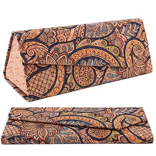 CORKCHO Estuche De Gafas Plegables, Funda De Gafas De Corcho Rígida Rectangular, Funda Dura para Guardar Las Gafas, 16.5x7x1.5cm, Ecológicas, Diseños 3
