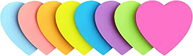 Heart Shape Sticky Notes 8 Color Bright Colorful Sticky Pad 75 Sheets/Pad Self-Sticky Note Pads