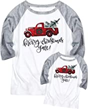 Merry Christmas Y'all Family Matching Shirt Mommy and Me Truck Tree Cute Tees Baseball Tops