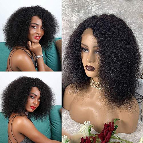 BLISSHAIR Afro Kinky Curly Lace Front Wig, Kurz lockige brasilianisches Virgin Remy Echthaar Afro lockige Welle Perücke mit natürlichem Haaransatz 180% Dichte (12 Inch)