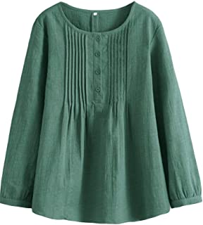 Minibee Women's Scoop Neck Pleated Blouse Solid Color Lovely Button Tunic Shirt