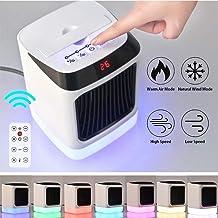 AKQ Calefactor Portátil Eléctrico Mini Calefactor Silencioso Cerámica Ventilador Calentador Bajo Consumo con 7 Colores de LED de Luz NocheB