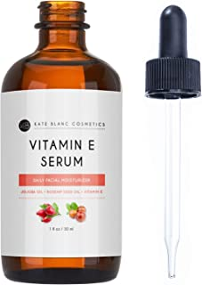 Vitamin E Serum by Kate Blanc. Moisturizes Face and Skin. Made with Organic Jojoba & Rosehip Seed Oil. Premium Grade, Antioxidants. Reduce Appearance of Scars, Wrinkles, Dark Spots. Non-sticky (1oz)