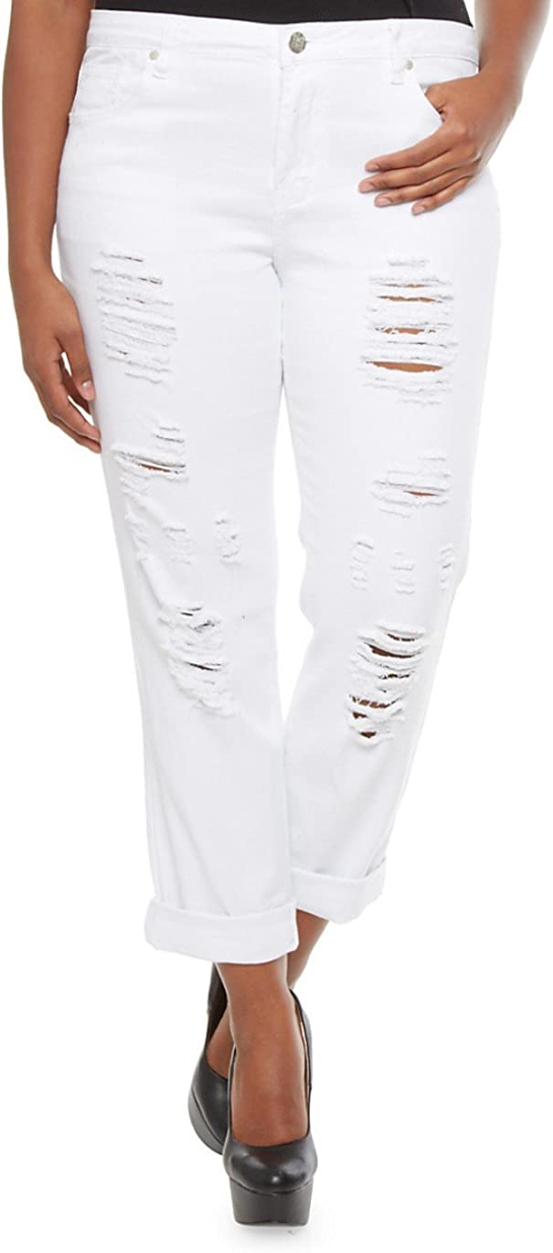 Cello Womens Plus Size Ripped Skinny up Discount mail order White D Denim Jeans Roll Sales of SALE items from new works