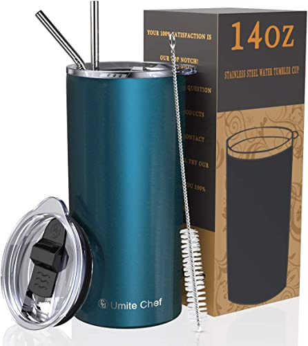 discount Umite Chef Tumbler with Lid, new arrival Stainless Steel Insulated Coffee Travel Mug, 14 oz Skinny Tumbler Lowball, Double Wall Coffee Tumbler Cup with Splash Proof Sliding Lid for Tea, outlet sale Beverage(Blue Green) outlet online sale
