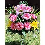 Starbouquets-Cemetery-Vase-Arrangement-Beautiful-Yellow-MumPink-Open-Rose-Gladiolus-and-Lily-Flowers-Mixture-Cemetery-Vase-Flowers-for-a-3-Inch-Vase