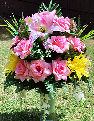Starbouquets Cemetery Vase Arrangement ~ Beautiful Yellow Mum,Pink Open Rose, Gladiolus and Lily Flowers Mixture Cemetery Vase Flowers ~ for a 3 Inch Vase