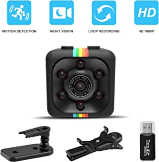Cop Spy Cam As Seen On TV Mini Camera Wireless Hidden,ehomful 1080P Body Camera Mini Spy Camera Nanny Cam with Night Vision and Motion Detection-Surveillance Camera for Home, Office, Outdoor