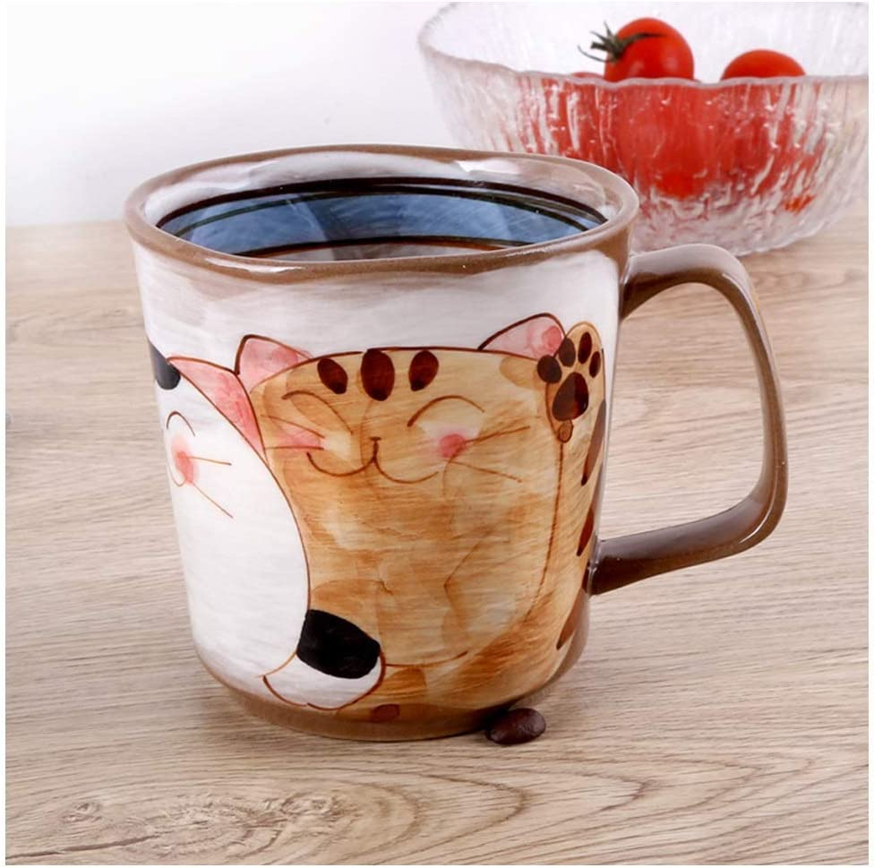 ZHFRC Coffee We OFFer at cheap prices Cups Mug Hand-Painted Popular overseas Beckoning Wa Ceramic Cat Cute
