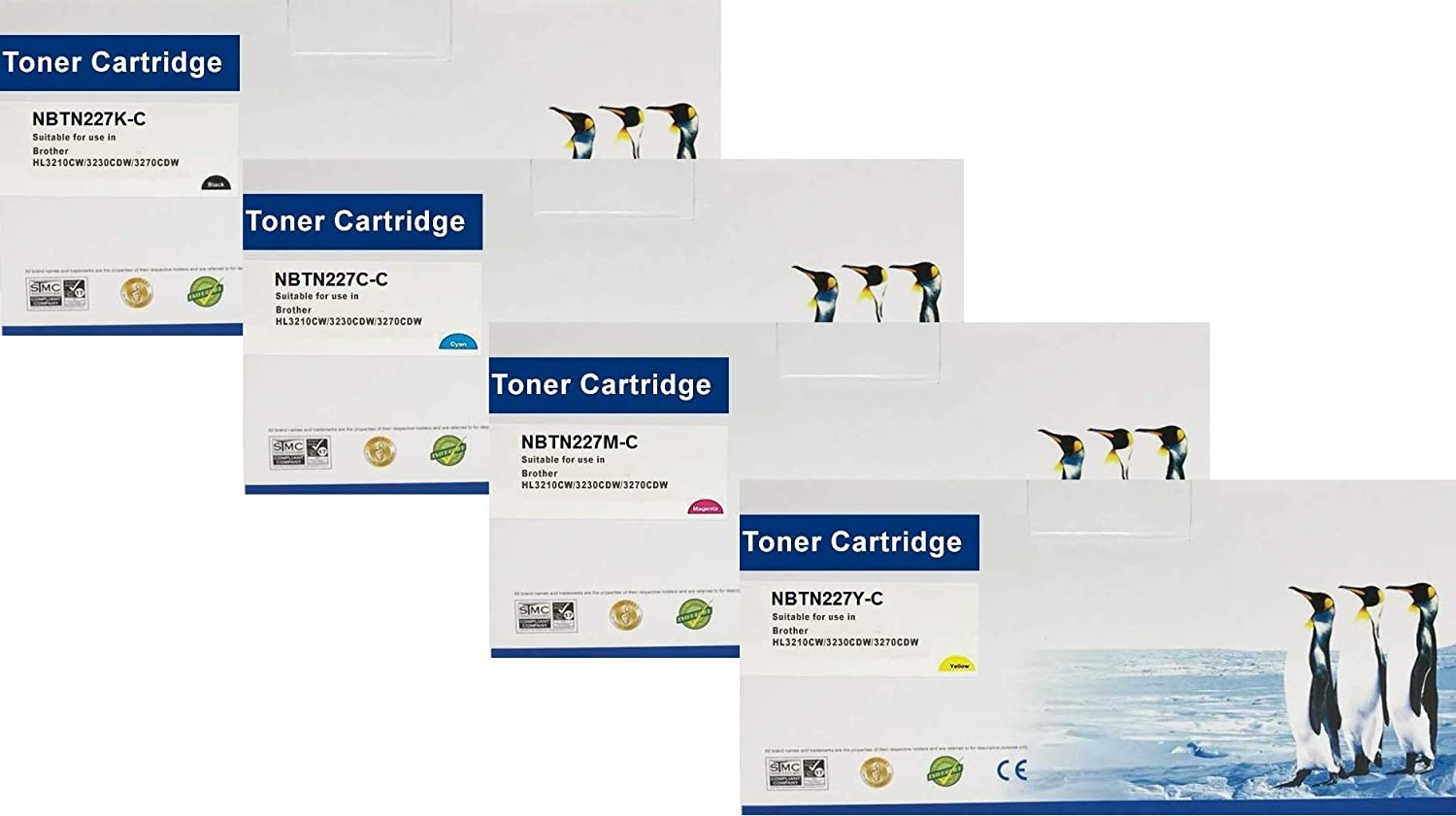 Search4Toner Compatible Replacements for Brother TN227, Black, Cyan, Yellow, Magenta, with Chip, Full Set of Colors, Lower Cost Alternative to Brother Brand, Overall Defect Rates Less Than 1%