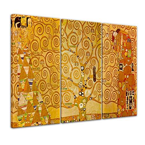 Wandbild Gustav Klimt Stoclet Fries Erwartung Lebensbaum Erfüllung - 120x80cm mehrteilig quer - Alte Meister Berühmte Gemälde Leinwandbild Kunstdruck Bild auf Leinwand